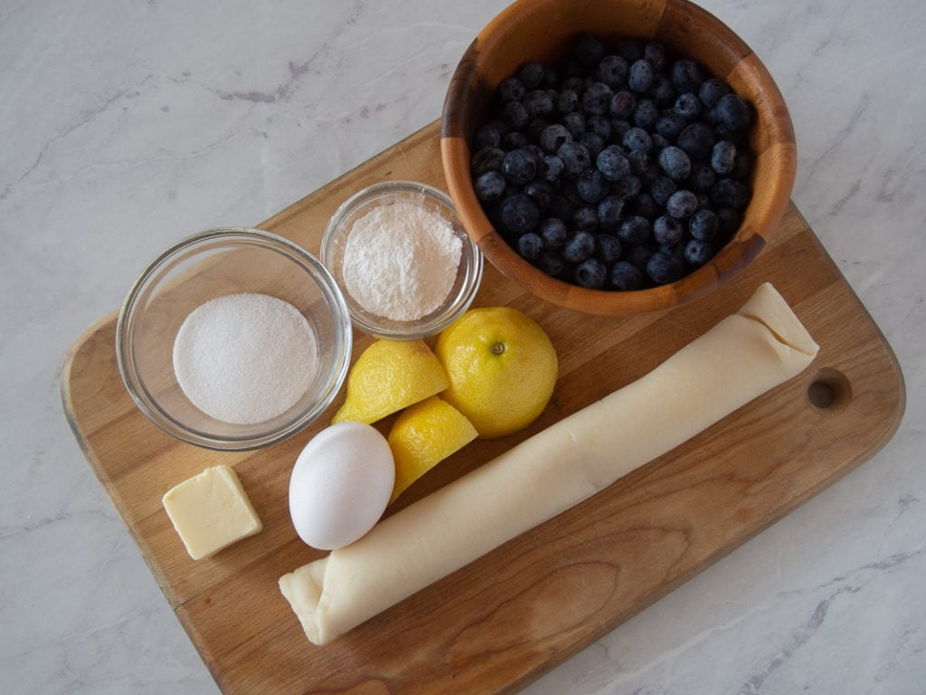 ingredients for make a blueberry galette