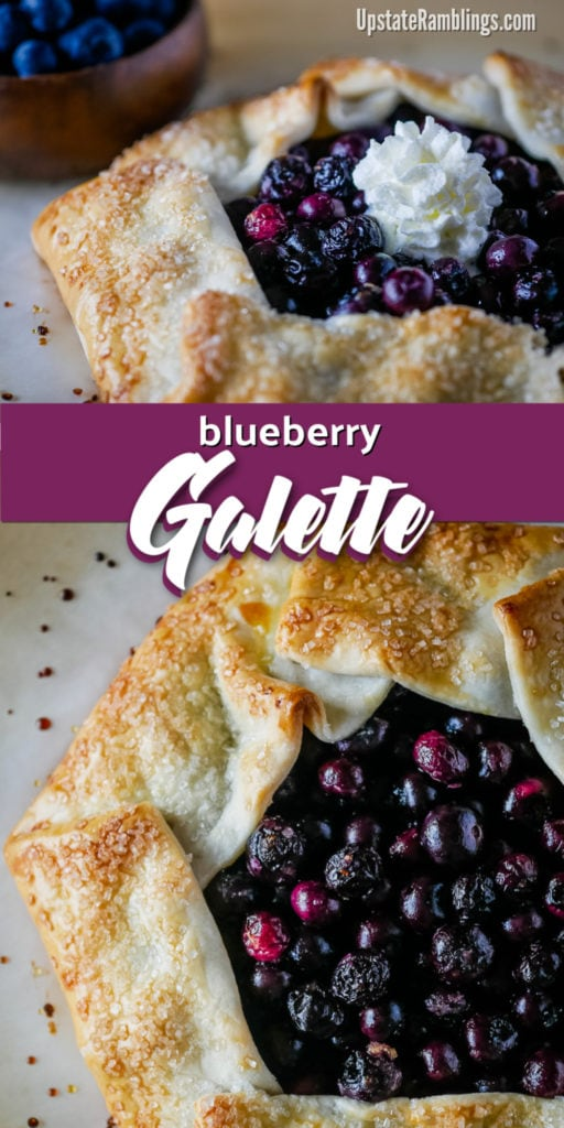 A rustic blueberry galette or blueberry crostata is an easy to make dessert. Fresh juicy blueberries are baked in a crisp and flaky crust for an open faced dessert that tastes delicious, looks impressive and can be made in less than 30 minutes. #galette #crostata #blueberry #blueberrydessert