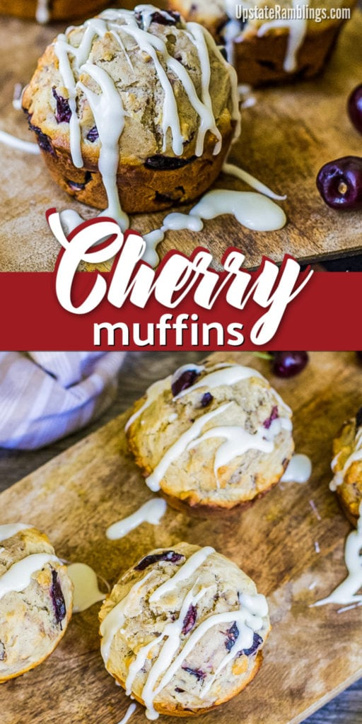 These easy fresh cherry muffins are moist and full of flavor! Filled with fresh cherries and almonds they are perfect for breakfast or dinner. Delicious made with either sweet or sour cherries. #muffins #cherries #cherrymuffins