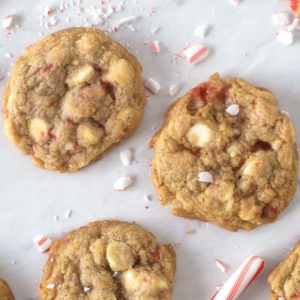 close up of two white chocolate peppermint cookies