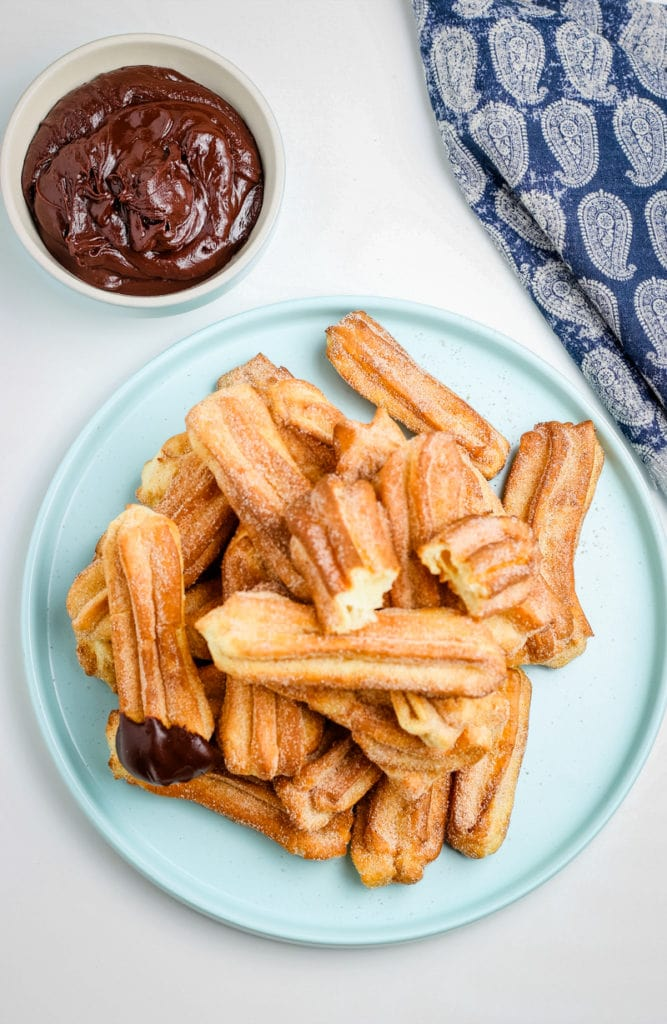 top view of air fried churros
