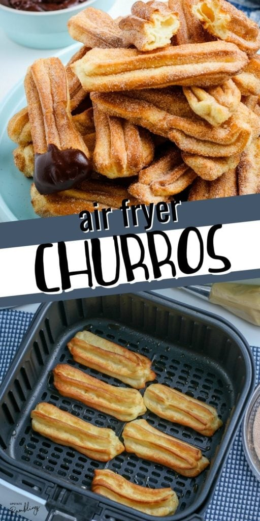This recipe for easy air fryer churros makes a fun Mexican dessert! Sweet dough is air fried and coated in cinnamon sugar for a crispy and delicious Mexican treat perfect for dipping in chocolate or caramel sauce. Easy step by step recipe! Air fryer churros are a healthier alternative to deep frying.