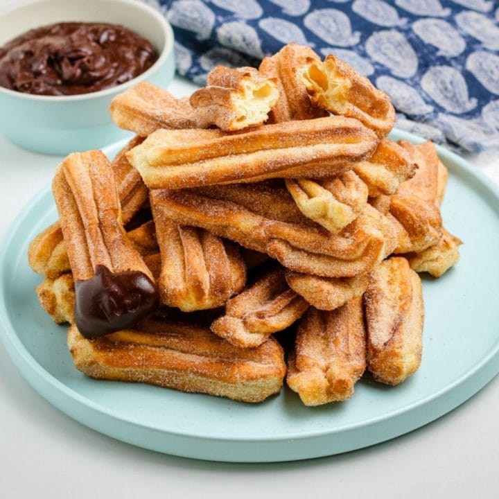 plate of air fryer churros after cooking